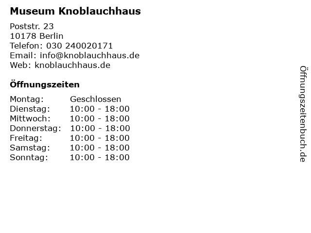 Museum Knoblauchhaus in Berlin: Adresse und Öffnungszeiten