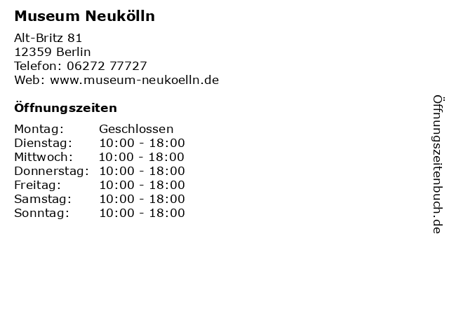 Museum Neukölln in Berlin: Adresse und Öffnungszeiten