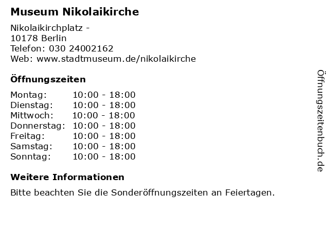 Museum Nikolaikirche in Berlin: Adresse und Öffnungszeiten