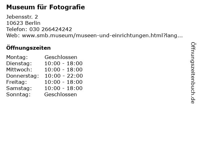 Museum für Fotografie in Berlin: Adresse und Öffnungszeiten