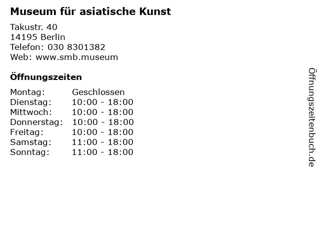 Museum für asiatische Kunst in Berlin: Adresse und Öffnungszeiten