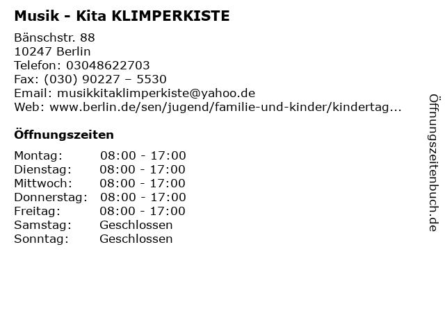 Musik - Kita KLIMPERKISTE in Berlin: Adresse und Öffnungszeiten