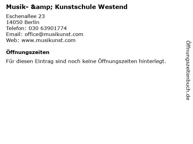 Musik- & Kunstschule Westend in Berlin: Adresse und Öffnungszeiten