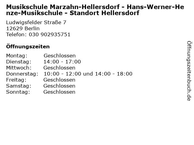 Musikschule Marzahn-Hellersdorf - Hans-Werner-Henze-Musikschule - Standort Hellersdorf in Berlin: Adresse und Öffnungszeiten
