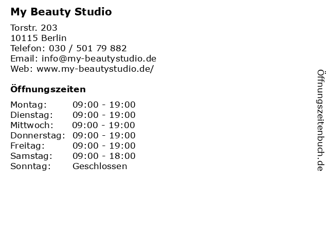 My Beauty Studio in Berlin: Adresse und Öffnungszeiten