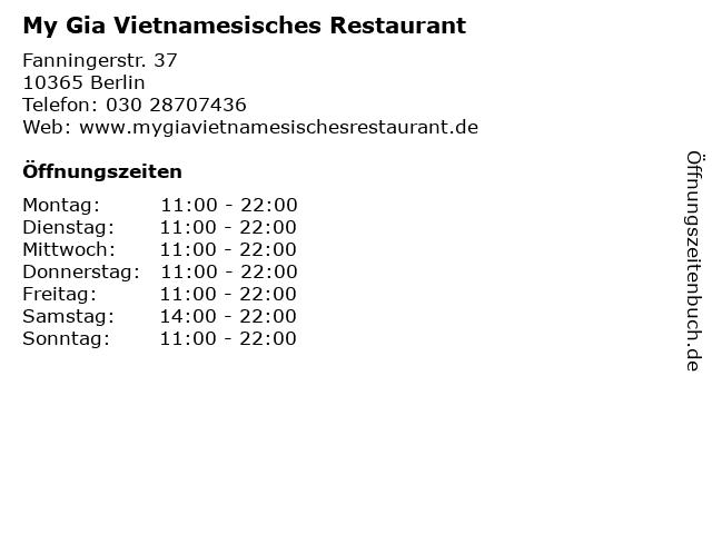 My Gia Vietnamesisches Restaurant in Berlin: Adresse und Öffnungszeiten
