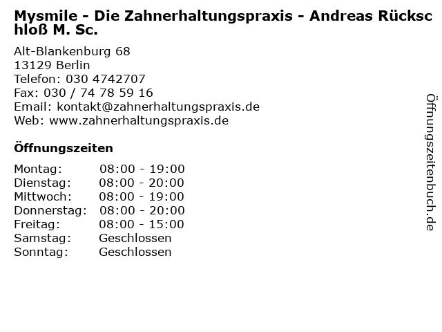 Mysmile - Die Zahnerhaltungspraxis - Andreas Rückschloß M. Sc. in Berlin: Adresse und Öffnungszeiten