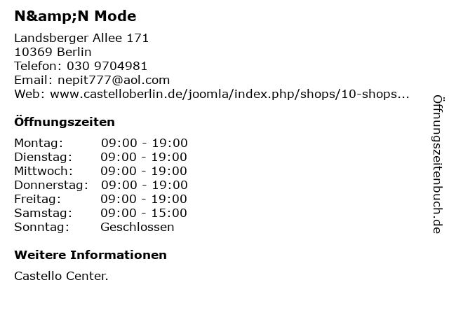 N&N Mode in Berlin: Adresse und Öffnungszeiten