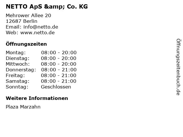 NETTO ApS & Co. KG in Berlin: Adresse und Öffnungszeiten