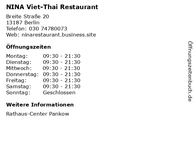 NINA Viet-Thai Restaurant in Berlin: Adresse und Öffnungszeiten