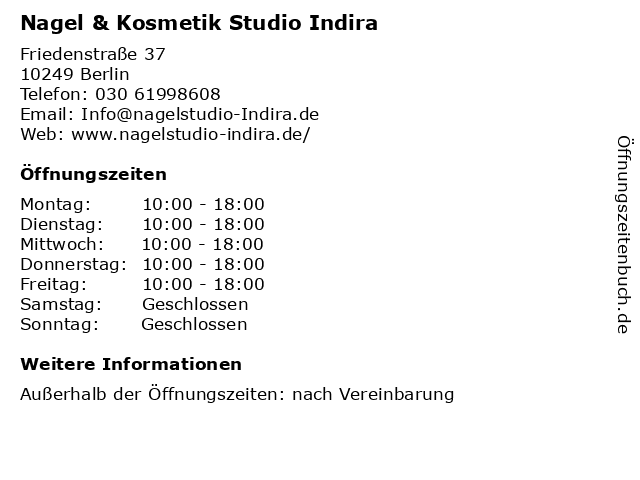 Nagel & Kosmetik Studio Indira in Berlin: Adresse und Öffnungszeiten