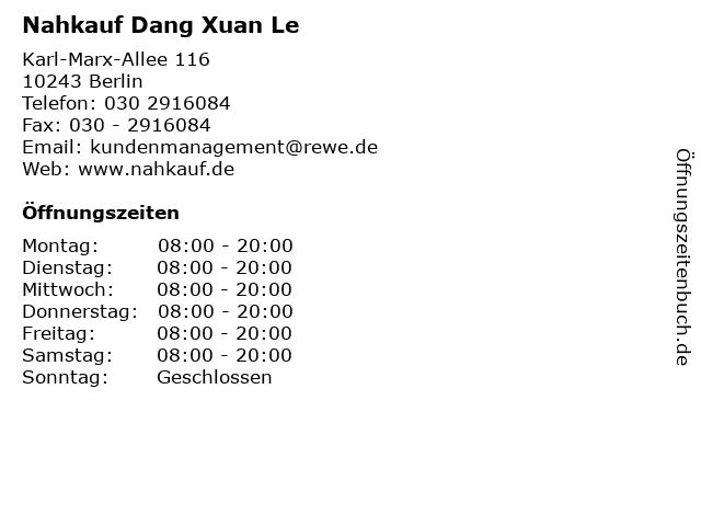 Nahkauf Dang Xuan Le in Berlin: Adresse und Öffnungszeiten