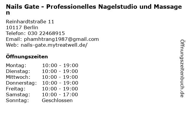 Nails Gate - Professionelles Nagelstudio und Massagen in Berlin: Adresse und Öffnungszeiten