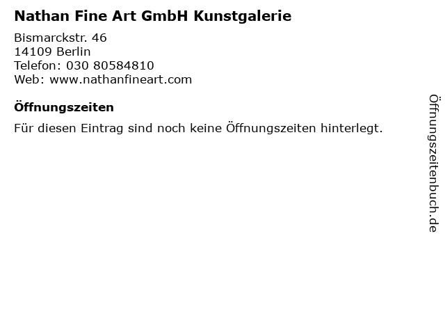 Nathan Fine Art GmbH Kunstgalerie in Berlin: Adresse und Öffnungszeiten