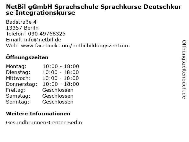 NetBil gGmbH Sprachschule Sprachkurse Deutschkurse Integrationskurse in Berlin: Adresse und Öffnungszeiten