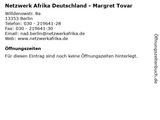 Netzwerk Afrika Deutschland - Margret Tovar in Berlin: Adresse und Öffnungszeiten