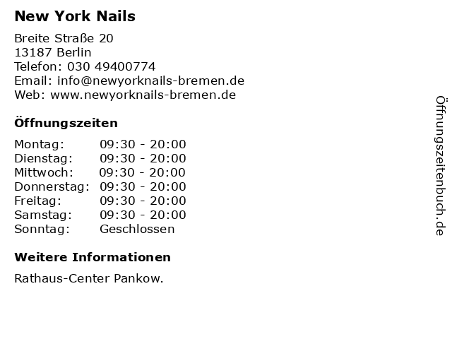 New York Nails in Berlin: Adresse und Öffnungszeiten