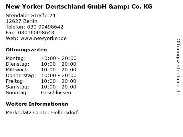 New Yorker Deutschland GmbH & Co. KG in Berlin: Adresse und Öffnungszeiten