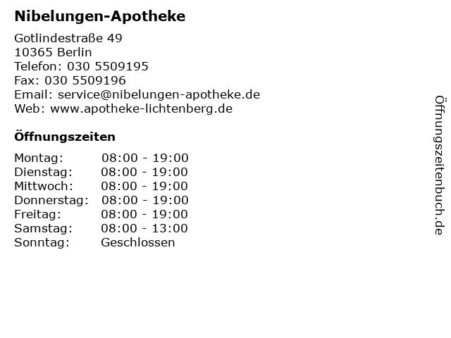 Nibelungen-Apotheke in Berlin: Adresse und Öffnungszeiten