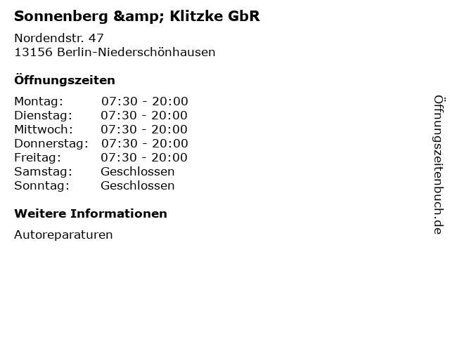 Sonnenberg & Klitzke GbR in Berlin-Niederschönhausen: Adresse und Öffnungszeiten