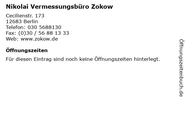 Nikolai Vermessungsbüro Zokow in Berlin: Adresse und Öffnungszeiten