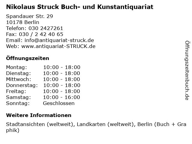 Nikolaus Struck Buch- und Kunstantiquariat in Berlin: Adresse und Öffnungszeiten