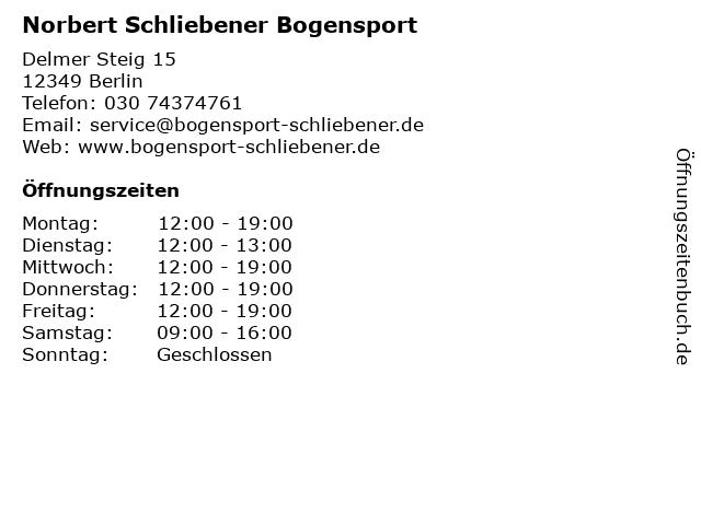 Norbert Schliebener Bogensport in Berlin: Adresse und Öffnungszeiten