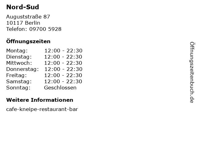 Nord-Sud in Berlin: Adresse und Öffnungszeiten