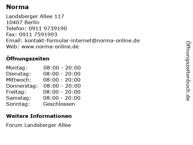 Norma Lebensmittelfilialbetrieb Stiftung & Co. KG in Berlin: Adresse und Öffnungszeiten