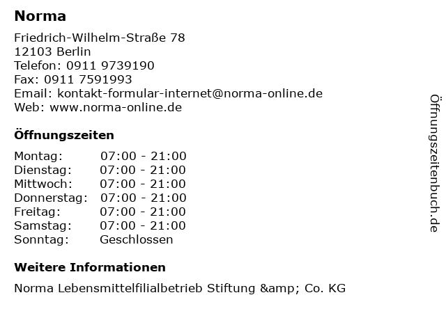Norma in Berlin: Adresse und Öffnungszeiten