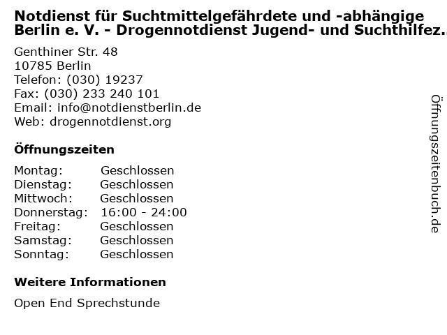 Notdienst für Suchtmittelgefährdete und -abhängige Berlin e. V. - Drogennotdienst Jugend- und Suchthilfezentrum in Berlin: Adresse und Öffnungszeiten