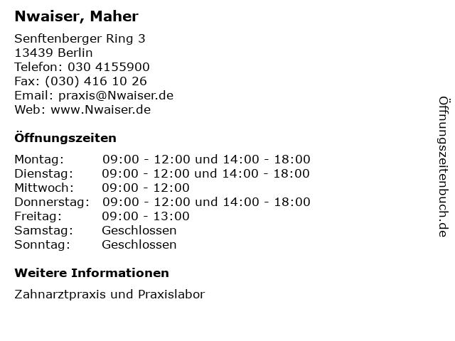 Nwaiser, Maher in Berlin: Adresse und Öffnungszeiten