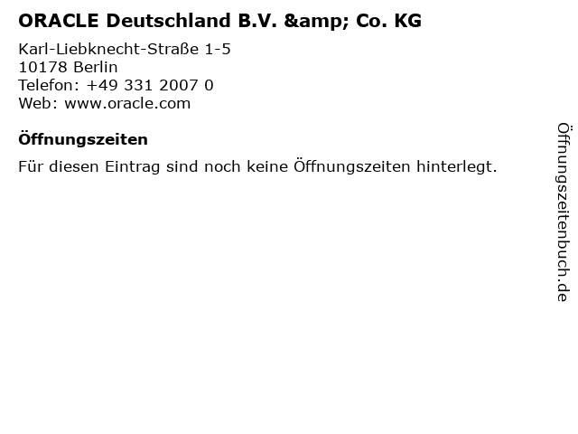 ORACLE Deutschland B.V. & Co. KG in Berlin: Adresse und Öffnungszeiten