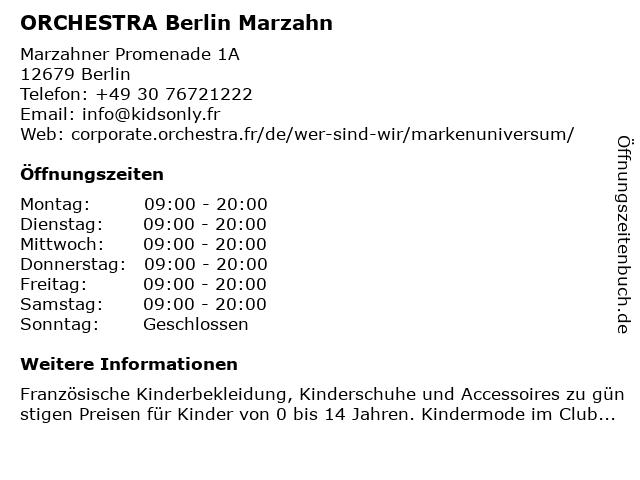 ORCHESTRA Berlin Marzahn in Berlin: Adresse und Öffnungszeiten