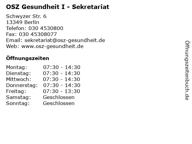 OSZ Gesundheit I - Sekretariat in Berlin: Adresse und Öffnungszeiten