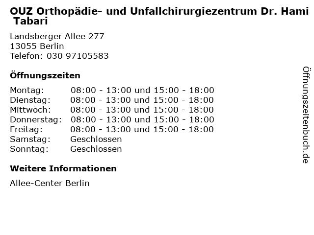 OUZ Orthopädie- und Unfallchirurgiezentrum Dr. Hami Tabari in Berlin: Adresse und Öffnungszeiten