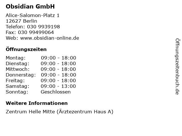 Obsidian GmbH in Berlin: Adresse und Öffnungszeiten