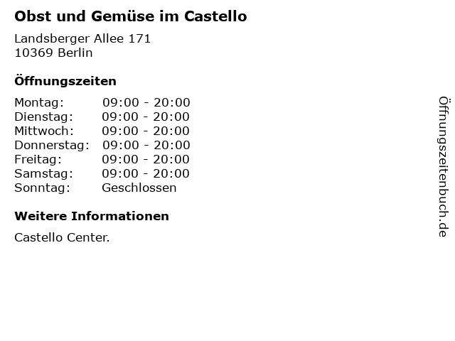 Obst und Gemüse im Castello in Berlin: Adresse und Öffnungszeiten