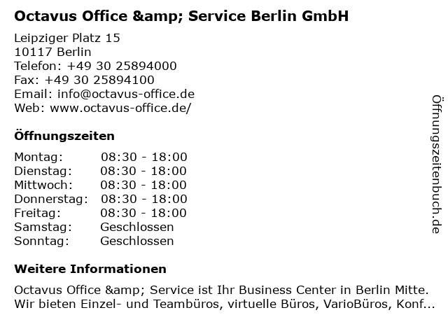 Octavus Office & Service Berlin GmbH in Berlin: Adresse und Öffnungszeiten
