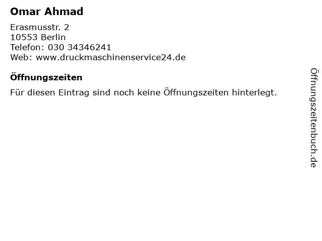 Omar Ahmad in Berlin: Adresse und Öffnungszeiten