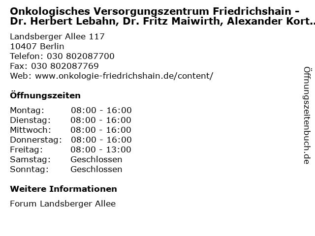 Onkologisches Versorgungszentrum Friedrichshain in Berlin: Adresse und Öffnungszeiten