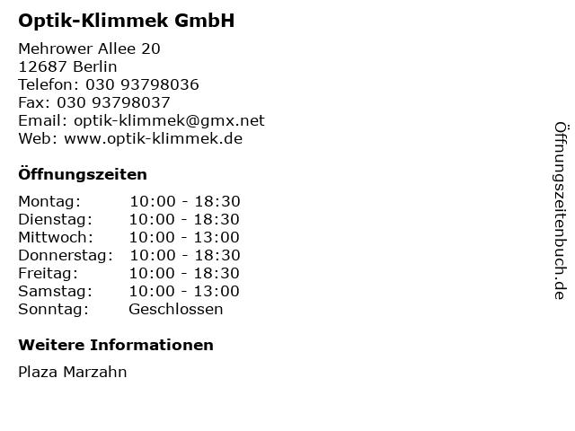 Optik-Klimmek GmbH in Berlin: Adresse und Öffnungszeiten
