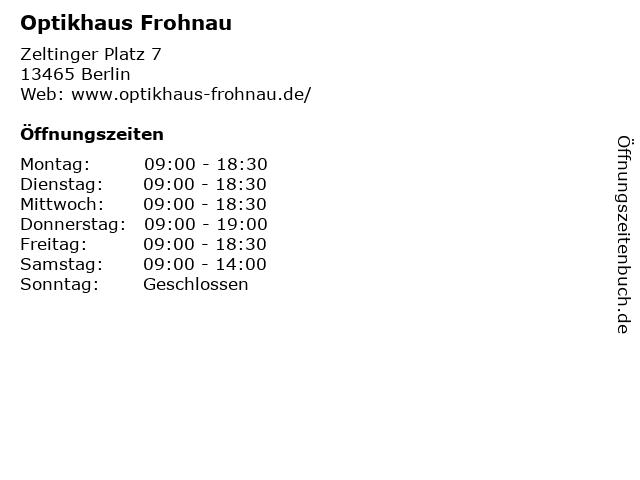 Optikhaus Frohnau in Berlin: Adresse und Öffnungszeiten