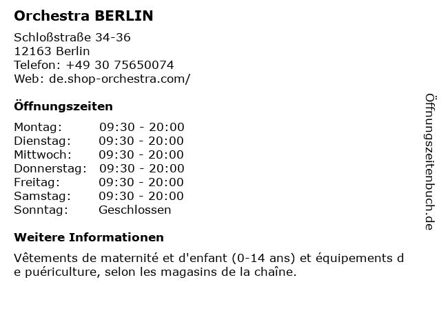 ORCHESTRA in Berlin: Adresse und Öffnungszeiten