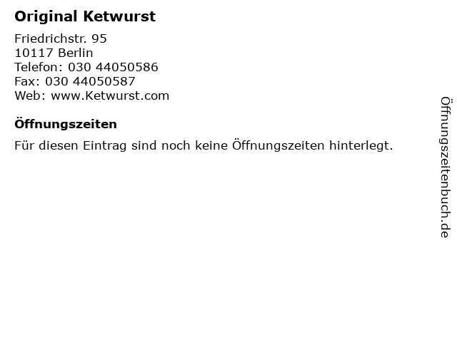 Original Ketwurst in Berlin: Adresse und Öffnungszeiten