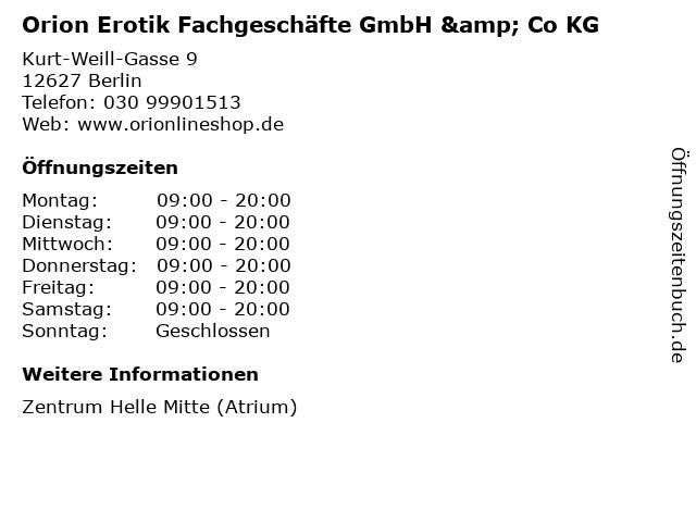 Orion Erotik Fachgeschäfte GmbH & Co KG in Berlin: Adresse und Öffnungszeiten