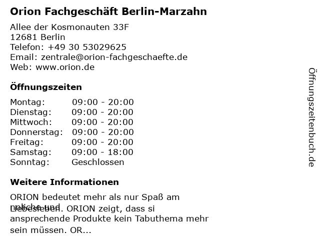 Orion Fachgeschäft Berlin-Marzahn in Berlin: Adresse und Öffnungszeiten