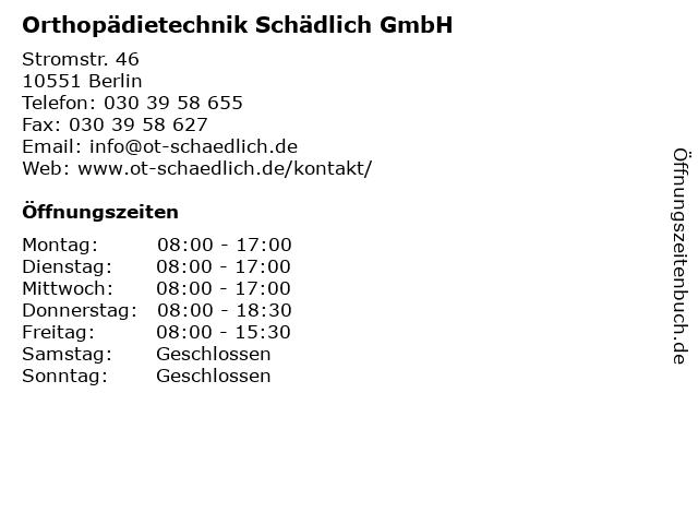 Orthopädietechnik Schädlich GmbH in Berlin: Adresse und Öffnungszeiten