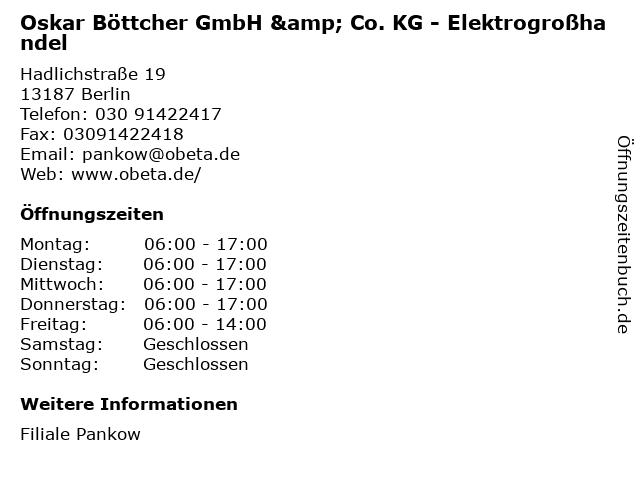 Oskar Böttcher GmbH & Co. KG - Elektrogroßhandel in Berlin: Adresse und Öffnungszeiten