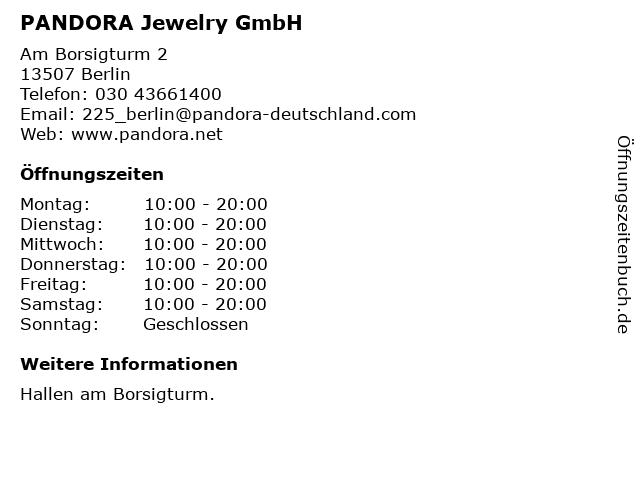 PANDORA Jewelry GmbH in Berlin: Adresse und Öffnungszeiten